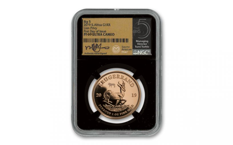 2019 South Africa 1-oz Gold Big 5 Privy Mark Krugerrand Proof NGC PF69UC First Day of Issue w/Tumi Signature