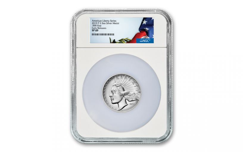 2019-P 2.5-oz Silver American Liberty High Relief Medal NGC SP69 Early Releases w/Flag Label