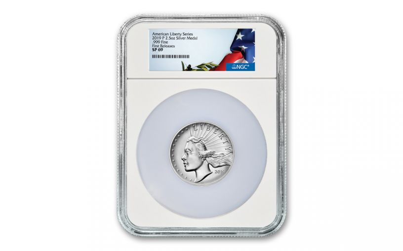 2019-P 2.5-oz Silver American Liberty High Relief Medal NGC SP69 First Releases w/Flag Label