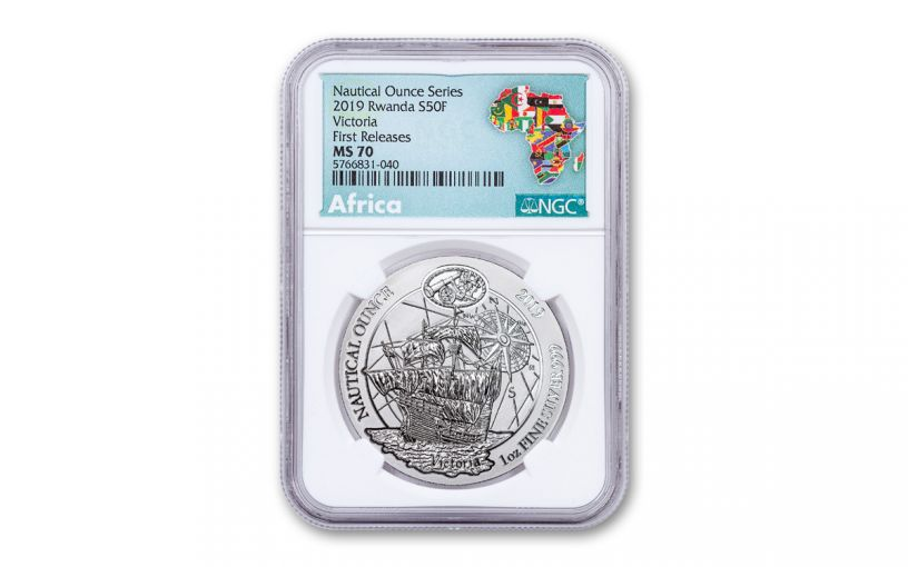 2019 Rwanda 1-oz Silver Nautical Ounce Series – 500th Anniversary Victoria NGC MS70 First Releases