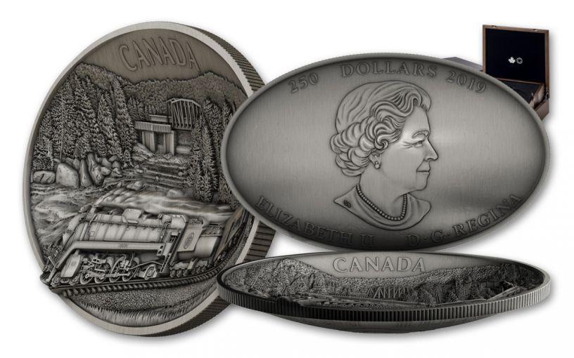2019 Canada $250 1 Kilo Silver Canadian National Railway Centennial Ultra-High Relief Antiqued Coin