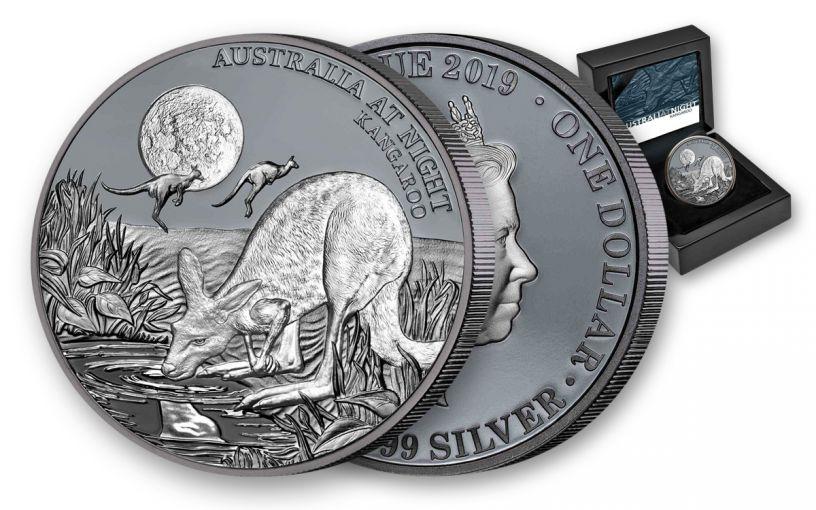 2019 Niue $1 1-oz Silver Kangaroo Australia at Night Black Proof