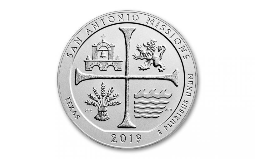 2019 5-oz Silver America the Beautiful – San Antonio Missions National Historical Park Specimen