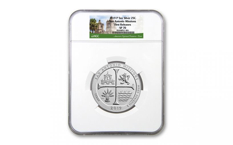 2019 5-oz Silver America the Beautiful – San Antonio Missions National Historical Park Specimen NGC SP70 First Releases