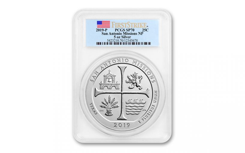 2019 5-oz Silver America the Beautiful – San Antonio Missions National Historical Park Specimen PCGS SP70 First Strike