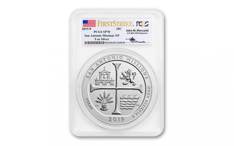 2019 5-oz Silver America the Beautiful – San Antonio Missions National Historical Park Specimen PCGS SP70 First Strike Mercanti Signed