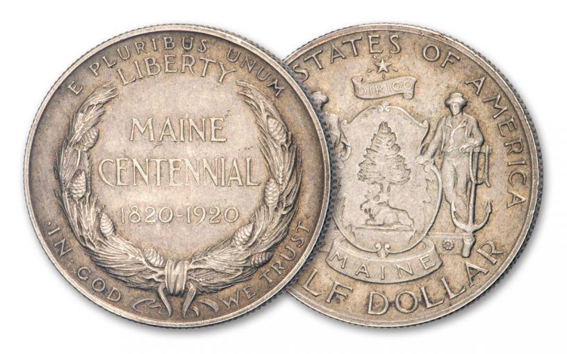 1920-P Maine Commemorative Silver Half Dollar XF–AU