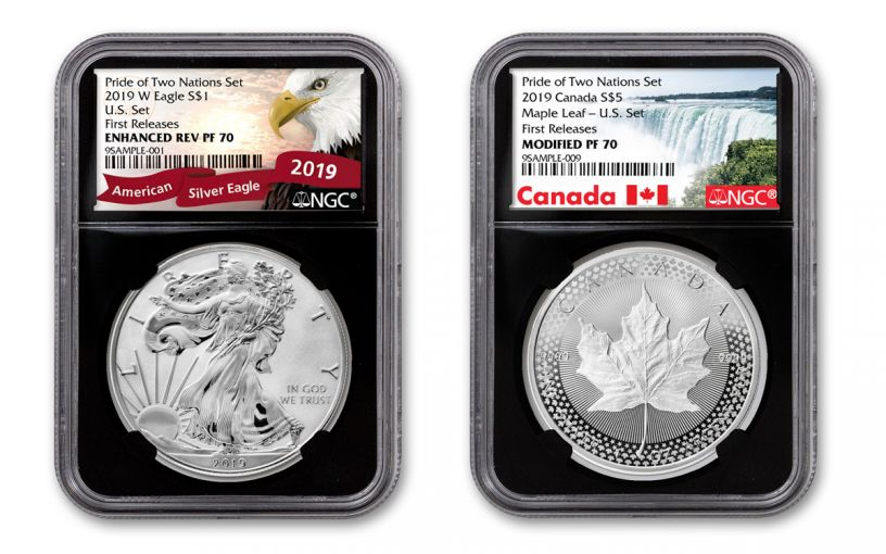 2019 United States & Canada 1-oz Silver Eagle & Maple Leaf Pride of Two Nations NGC PF70 2-Coin Set First Releases w/Black Core and Eagle & Canada Labels