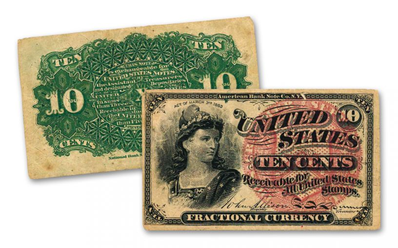 1869–1875 10 Cents Fractional Note Fine Fourth Issue