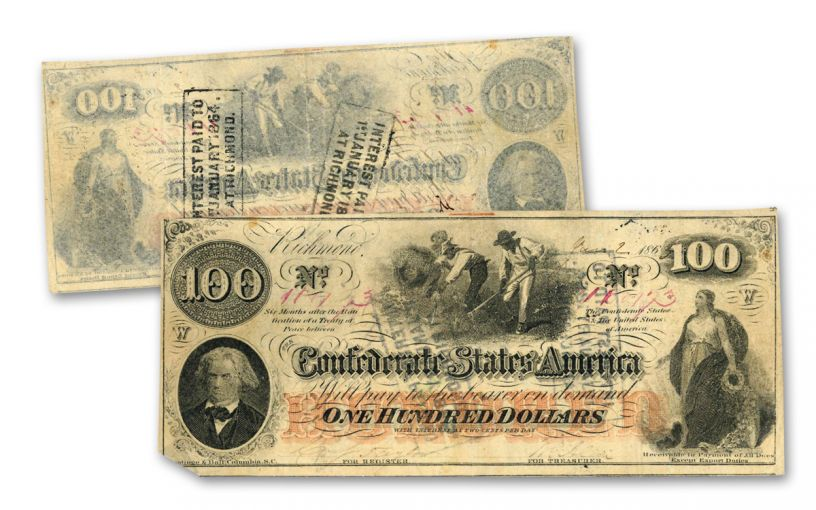 """1862–1863 Confederate $100 """"Cotton Picker"""" Note VF"""