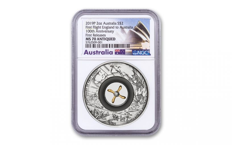 2019 Australia $2 2-oz Silver First England-to-Australia Flight Antiqued Coin NGC MS70 First Releases