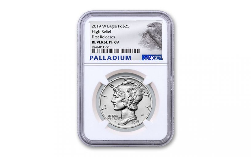 2019-W $25 1-oz Palladium American Eagle Reverse Proof NGC PF69 First Releases w/Palladium Label