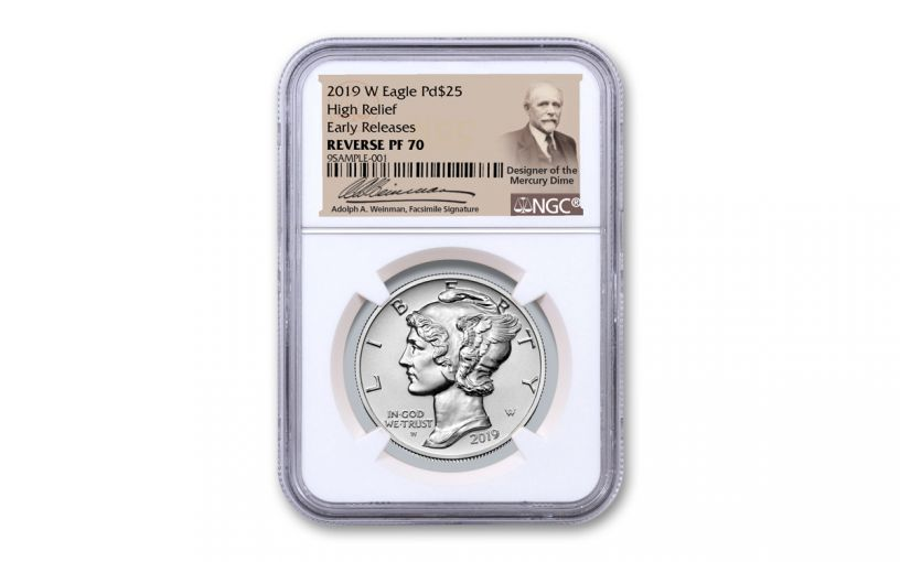 2019-W $25 1-oz Palladium American Eagle Reverse Proof NGC PF70 Early Releases w/Weinman Label