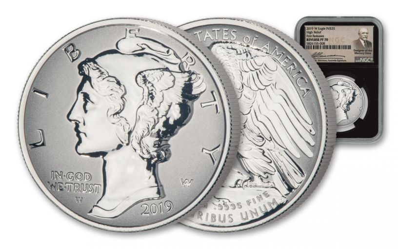 2019-W $25 1-oz Palladium American Eagle Reverse Proof NGC PF70 First Releases w/Black Core & Weinman Label
