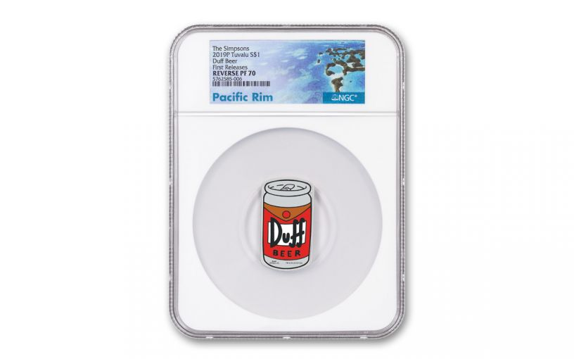 2019 Tuvalu $1 1-oz Silver The Simpsons Duff Beer Colorized Can-Shaped Proof NGC PF70UC First Releases