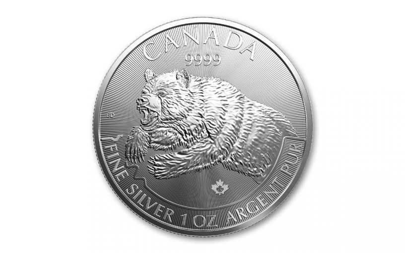2019 Canada $5 1-oz Silver Predator Series Grizzly Bear BU