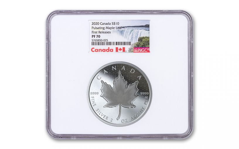 2020 Canada $10 2-oz Silver Maple Leaf Pulsating Proof NGC PF70 First Releases w/Canada Label