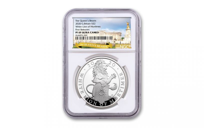 2020 Great Britain £2 1-oz Silver Queen's Beasts White Lion of Mortimer Proof NGC PF69UC First Releases