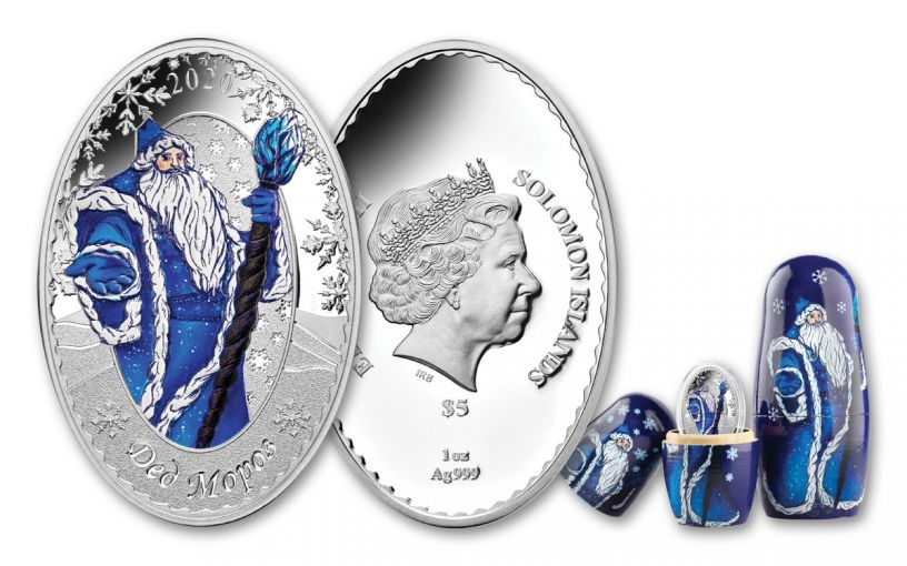 2020 Solomon Islands $5 1-oz Silver Father Frost Colorized Oval Proof