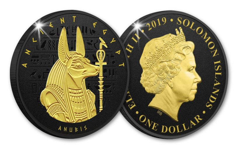 2019 Solomon Islands $1 Ancient Egypt Anubis Coin w/Black Nickel & Gold Plating Proof-Like