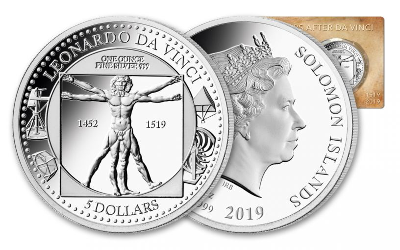 2019 Solomon Islands $5 1-oz Silver Leonardo da Vinci 500th Anniversary Proof