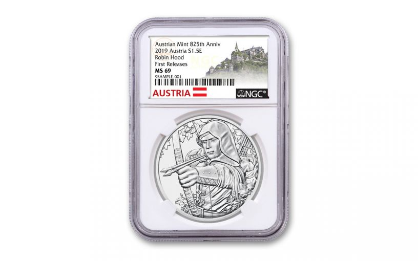 2019 Austria €1.5 1-oz Silver 825th Anniversary of Austria Mint – Robin Hood NGC MS69 First Releases