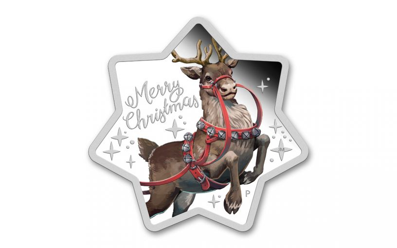 2019 Australia $1 1-oz Silver Star-Shaped Christmas Reindeer Colorized Proof