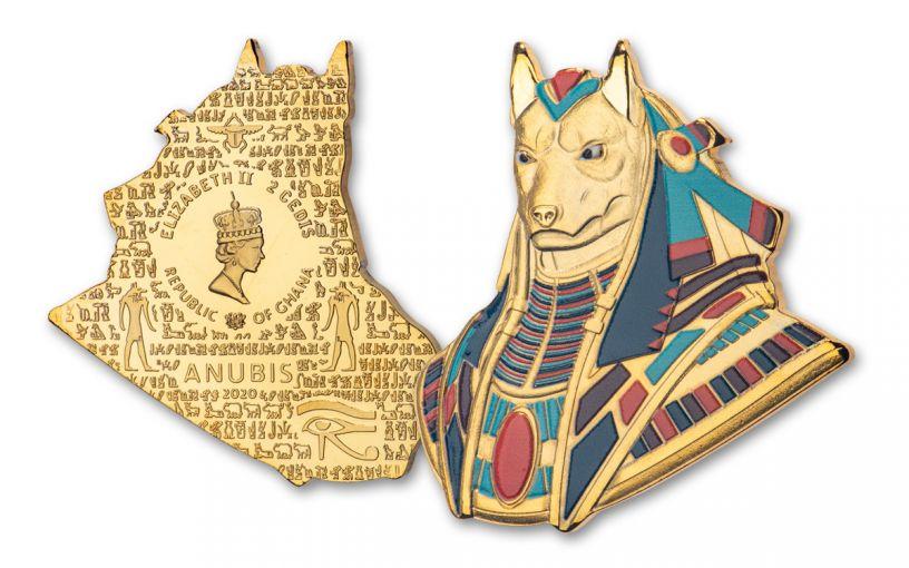 2020 Ghana 1-oz CuNi Legacy of Egypt Anubis Gilded Ultra High Relief Coin