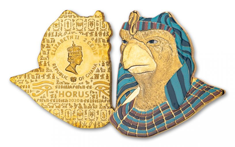 2020 Ghana 1-oz CuNi Legacy of Egypt Horus Gilded Ultra High Relief Coin
