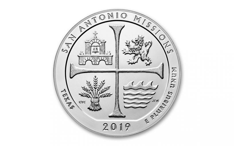 2019 5-oz Silver America the Beautiful – San Antonio Missions National Historical Park BU