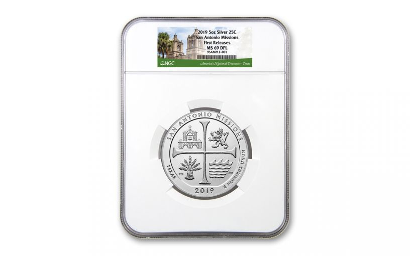 2019 5-oz Silver America the Beautiful – San Antonio Missions National Historical Park NGC MS69 Deep Proof-Like First Releases