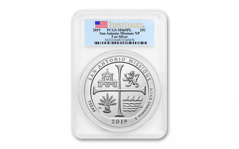 2019 5-oz Silver America the Beautiful – San Antonio Missions National Historical Park PCGS MS69 Proof-Like First Strike