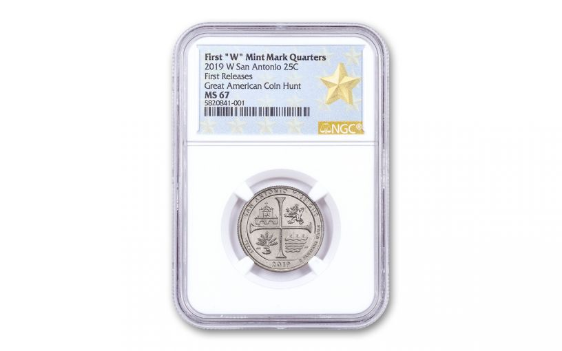 2019-W 25¢ America the Beautiful – San Antonio Missions National Historical Park NGC MS67 First Releases w/Gold Star Label