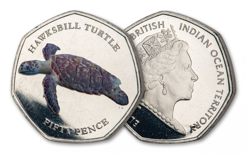2019 BIOT 50-Pence 8-gm CuNi Hawksbill Turtle Colorized Proof