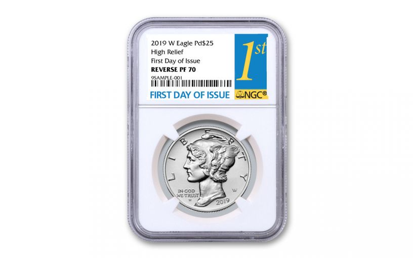 2019-W $25 1-oz Palladium American Eagle Reverse Proof NGC PF70 First Day of Issue