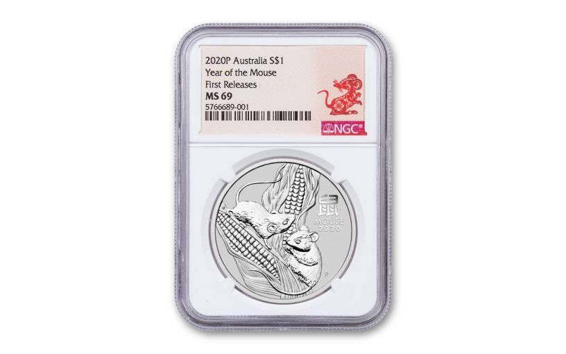 2020 Australia $1 1-oz Silver Lunar Year of the Mouse NGC MS69 First Releases w/Rat Label