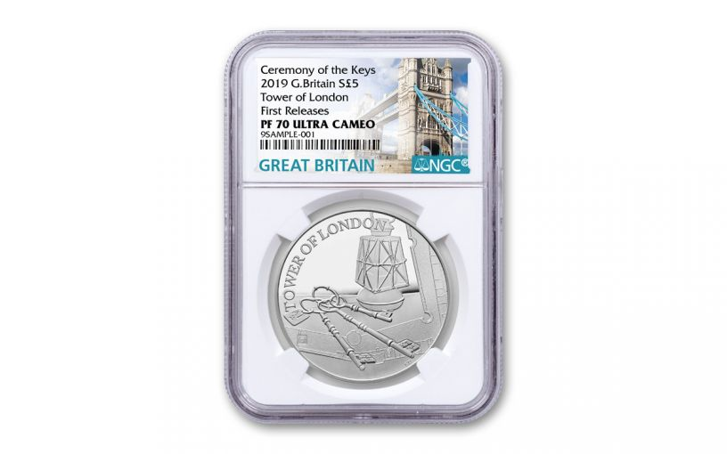 2019 Great Britain £5 Silver Tower of London Ceremony of the Keys NGC PF70UC First Releases
