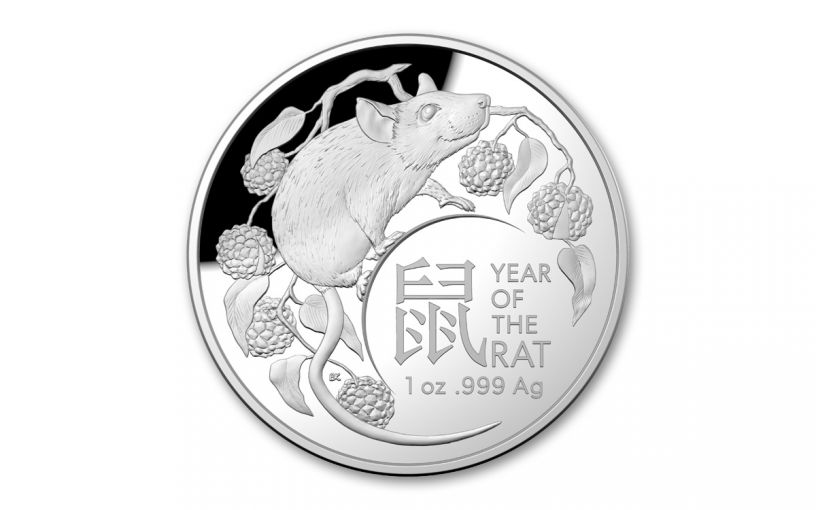 2020 Australia $5 1-oz Silver Lunar Year of the Rat Dome Proof