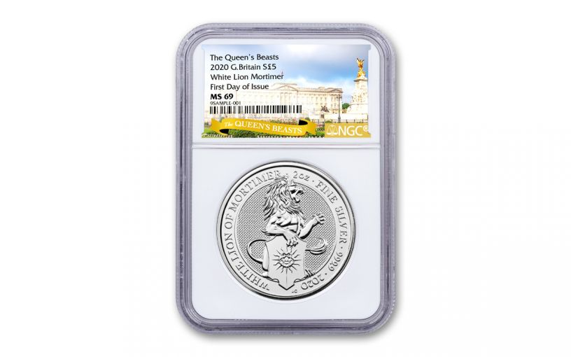 2020 Great Britain £5 2-oz Silver Queen's Beasts White Lion of Mortimer NGC MS69 First Day of Issue