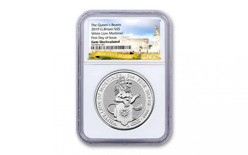 2020 Great Britain £5 2-oz Silver Queen's Beasts White Lion of Mortimer NGC Gem Unc First Day of Issue