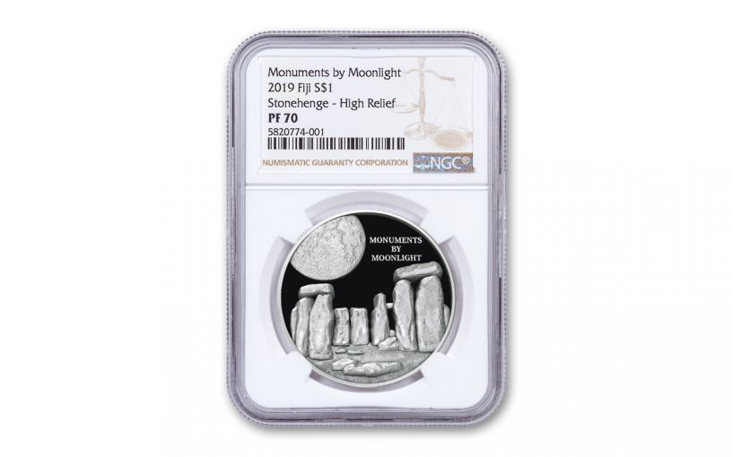 2019 Fiji $1 1-oz Silver Monuments by Moonlight Stonehenge Ultra High Relief Proof NGC PF70