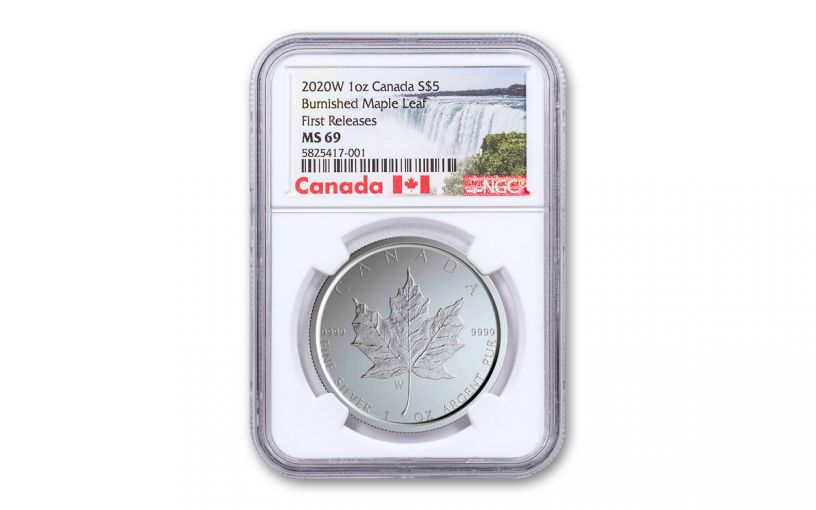 2020-W Canada $5 1-oz Silver Burnished Maple Leaf NGC MS69 First Releases w/Canada Label