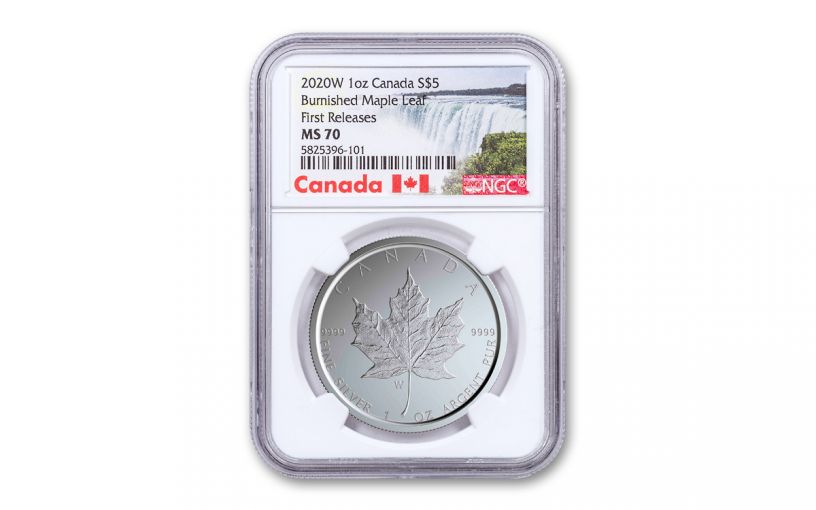 2020-W Canada $5 1-oz Silver Burnished Maple Leaf NGC MS70 First Releases w/Canada Label