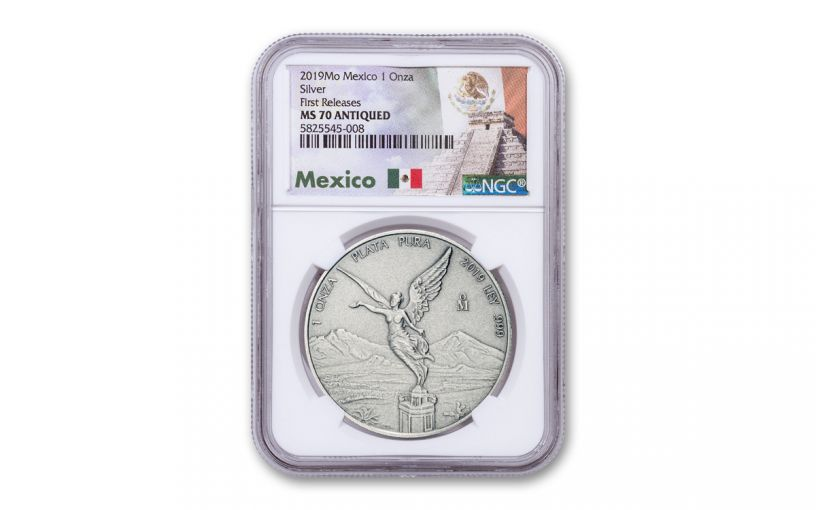 2019-MO Mexico 1-oz Silver Libertad Antiqued NGC MS70 First Releases w/Mexico Label