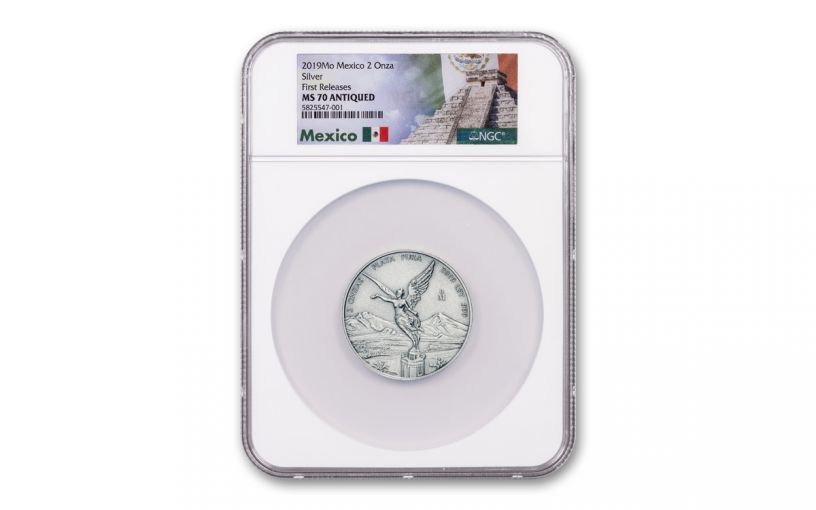 2019-MO Mexico 2-oz Silver Libertad Antiqued NGC MS70 First Releases w/Mexico Label