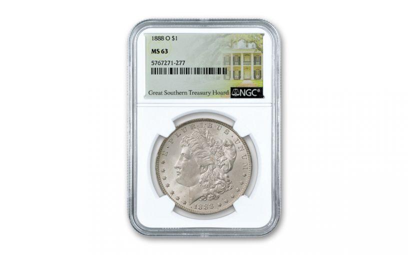 1888-O Morgan Silver Dollar Great Southern Hoard NGC MS63