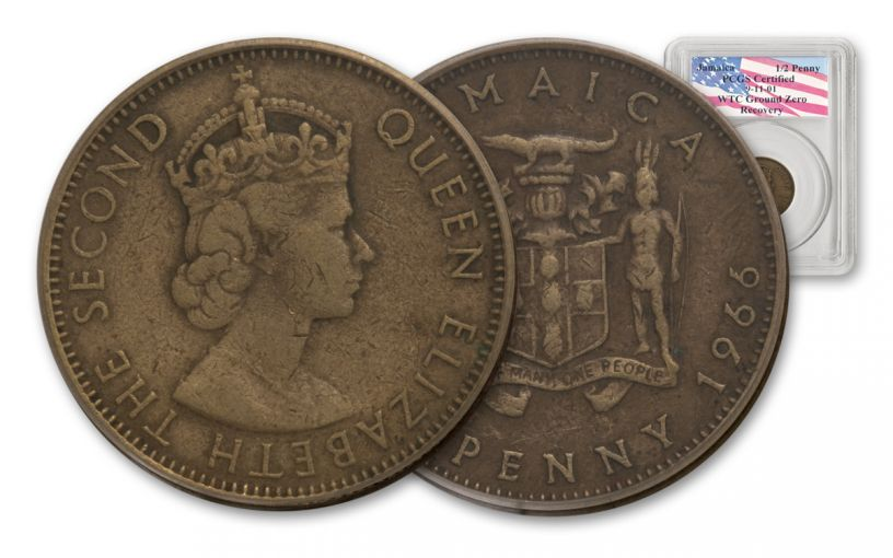 1950–1969 Jamaica Half Penny PCGS Genuine World Trade Center Ground Zero Recovery