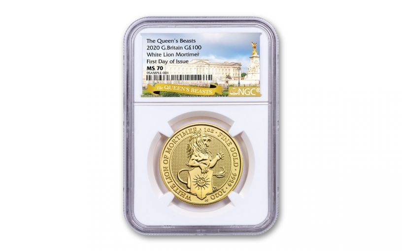2020 Great Britain £100 1-oz Gold Queen's Beasts White Lion of Mortimer NGC MS70 First Day of Issue