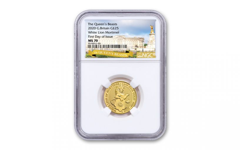 2020 Great Britain £25 1/4-oz Gold Queen's Beasts White Lion of Mortimer NGC MS70 First Day of Issue