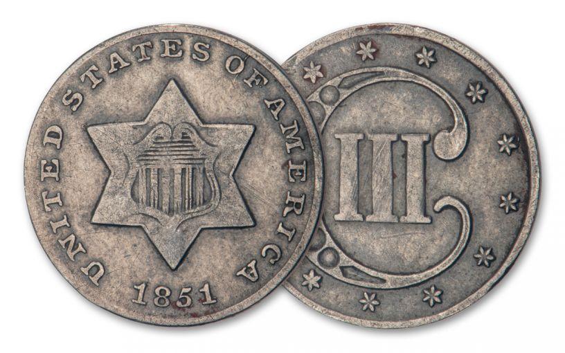 1851-1853 3 CENT SILVER PIECE VF (TRIME)